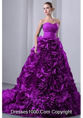 A-Line / Princess Sweetheart Court Train Quinceanea Dress with Rolling Flowers