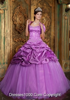A-line Sweetheart Appliques and Pick-ups  Quinceneara Dresses