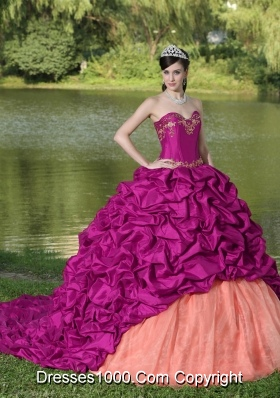 Appliques and Pick-ups Fuchsia Exquisite Style For Quinceanera Dress