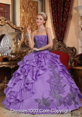 Ball Gown Strapless Appliques and Ruffles Quinceanera Dress
