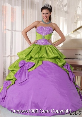 Ball Gown Strapless Appliques Quinceanera Dress with Bows