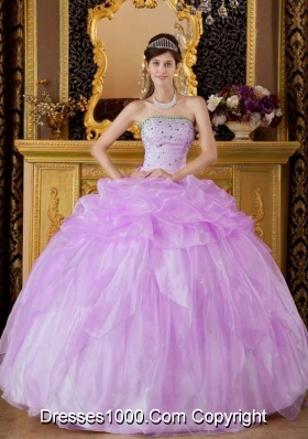 Ball Gown Strapless Beading and Pick-ups Quinceanera Gowns Dresses