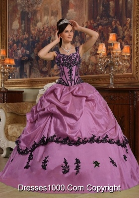 Ball Gown Straps Dress For Quinceanera with Pick-ups and Appliques