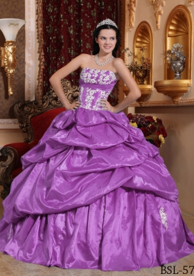 Discount Lavender Strapless Taffeta Quinceanera Gowns with Appliques