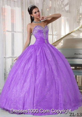 Lavender Ball Gown Sweetheart Dresses For a Quinceanera with Appliques