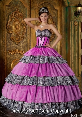Luxurious Lilac Sweetheart Zebra Sweet 16 Dresses with Layers