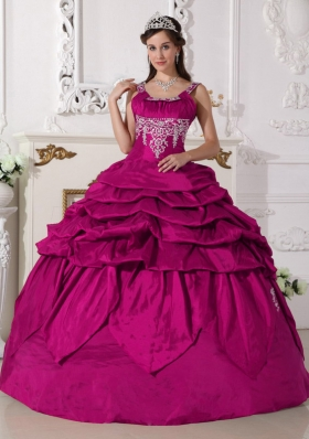 Modest Fuchsia Scoop Taffeta Appliques and Pick-ups Quinceanera Dress