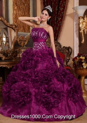 New Style Strapless Organza Appliques and Ruffles Quincenera Dresses