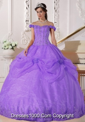 Off The Shoulder Organza Quinceneara Dresses with Appliques and Hand Made Flowers
