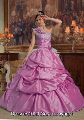 One Shoulder Lilac Quincianera Dresses with Hand Made Flowers and Pick-ups