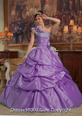 One Shoulder Sweet 16 Dresses with Appliques and Hand Made Flowers