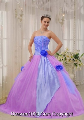Princess Strapless Taffeta and Tulle Hand Made Flowers for Lilac Quinceanera Dress