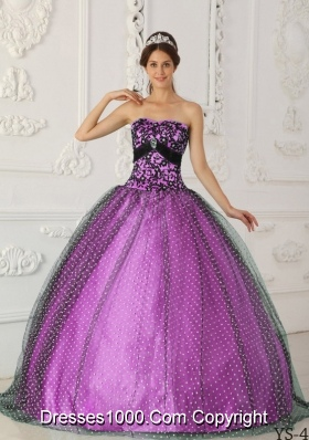 Princess Strapless Tulle Beading and Appliques for Black and Lilac Quinceanera Dress