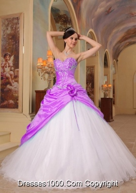 Princess Sweetheart Beading and Flowers for Lilac and White Quinceanera Gowns