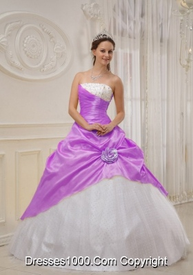 Purple Ball Gown Strapless Beading Dresses For a Quinceanera with Hand Made Flower