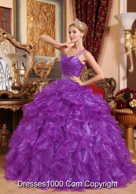 Purple One Shoulder Organza Quinceanera Gowns with Beading and Ruffles
