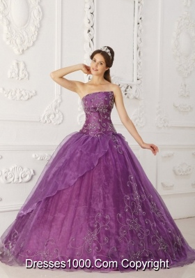 Purple Strapless Beading Quinceanera Dress with Embroidery