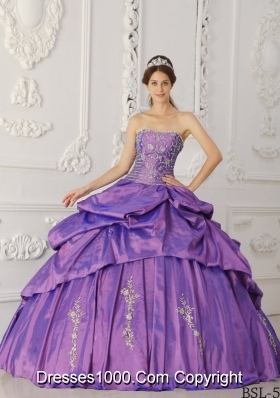 Purple Strapless Embroidery and Beading Pick-ups Quinceanera Dress
