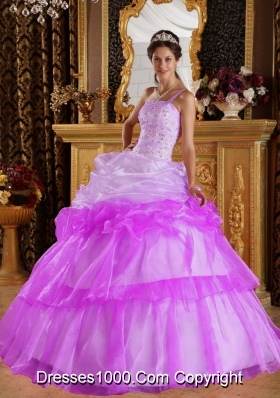 Romantic One Shoulder Appliques with Beading Pick-ups Dress For Quinceaneras