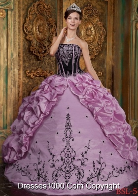 Rose Pink Ball Gown Strapless Embroidery Pick-ups Quinceneara Dresses