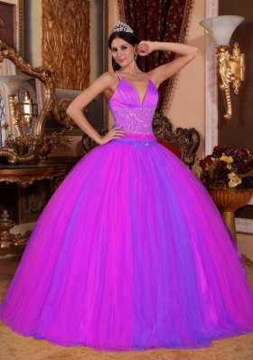 Spaghetti Straps Taffeta and Tulle Beaded Decorate Sweet 16 Dresses