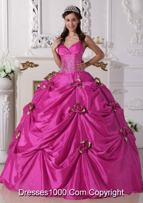 Spaghetti Straps Taffeta Quinceanera Gown with Beading and Hand Made Flowers