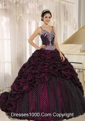 Special Fabric Spagetti Straps Pick-ups Quinceanera Gowns with Appliques Decorate