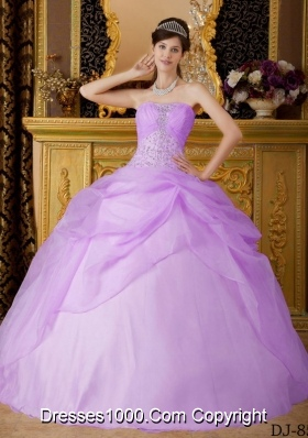 Strapless Organza Beading and Pick-ups for Lilac Sweet 16 Dresses