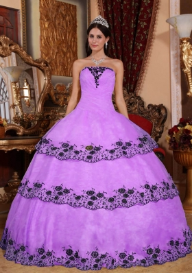 Strapless Organza Lace Appliques for Lilac Quinceanera Gowns