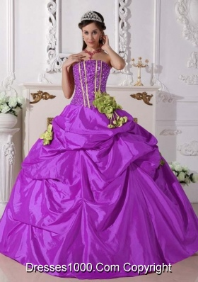Strapless Taffeta Beading and Hand Made Flowers Quinceanera Dress