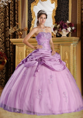 Strapless Taffeta Beading Quinceanera Gowns with Beading and Pick-ups