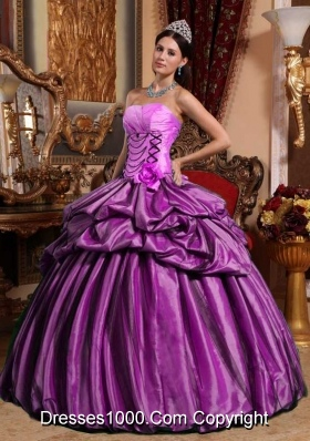 Strapless Taffeta Hand Made Flower Quinceanera Gowns with Pikc-ups