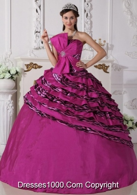 Strapless Zebra Beaded Decorate Quinceanera Dress for 2014 Spring