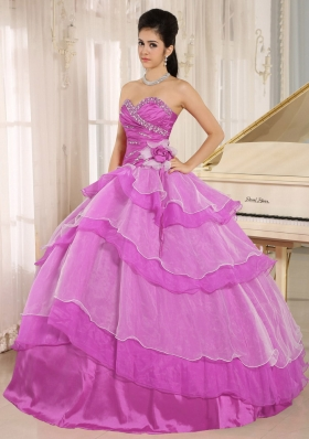 Sweetheart Beading and Hand Made Flower Quinceanera Dress in Fuchsia