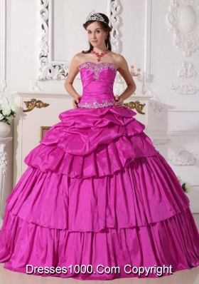 Sweetheart Taffeta Appliques and Pick-ups Detachable Quinceanera Gown