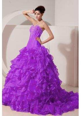 A-line / Princess Sweetheart Brush Train Taffeta Appliques Quinceanera Gown