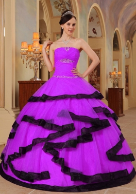 Ball Gown Strapless Appliques and Beading Quinceanera Dress