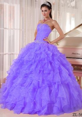 Ball Gown Strapless Organza Quinceanera Gowns with Ruffles and Beading