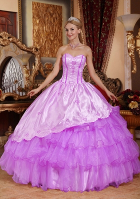 Ball Gown Sweetheart Embroidery Quinceanera Dress with Ruffled Layers