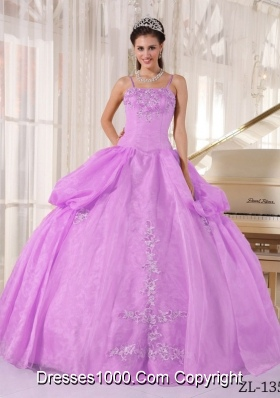 Ball Gown Taffeta and Organza Appliques for Spaghetti Straps Sweet Sixteen Dresses