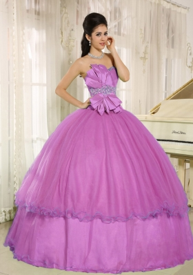 Beading and Bowknot Sweetheart Quinceanera Dress for Custom Made
