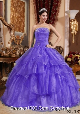 Discount Ball Gown Strapless Organza Sweet 15 Dresses with Beading