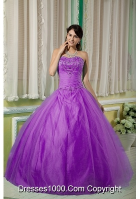Discount Sweetheart Tulle Quinceanera Dress with Beaded Decorate