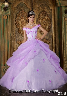 Elegant Off The Shoulder Organza Appliques for Lilac Sweet 15 Dresses
