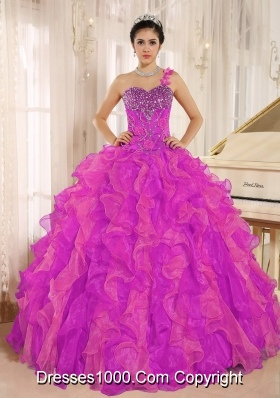 Fuchsia One Shoulder Beaded Decorate and Ruffles Quinceanera Dress for 2014