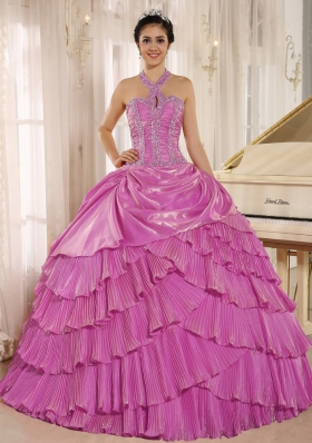 Halter Pleat Lilac Quinceneara Dresses with Beading and Layers