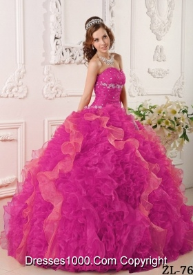 Hot Pink Ball Gown Sweetheart Floor-length Organza Appliques and Beading Quinceanera Dress