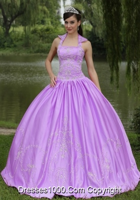 Lilac Halter Top Neck Appliques with Beading Quinceanera Dress