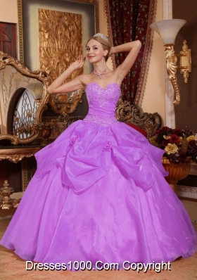 Lilac Sweetheart Organza Appliques Quinceanera Gowns with Pick-ups