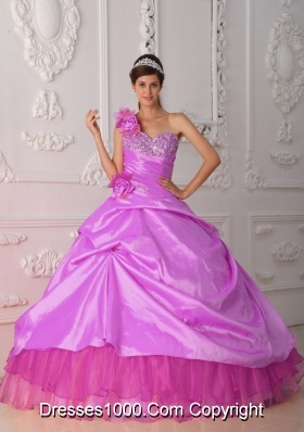 One Shoulder Organza and Beading and Hand Made Flower Sweet Sixteen Dresses